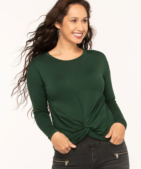 Forest Green Twist Front Hacchi Top, Forest Green, hi-res