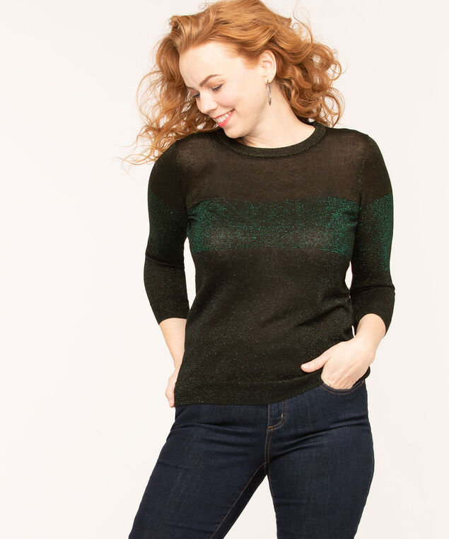 Black Metallic Colour Block Sweater, Black/Emerald Metallic, hi-res
