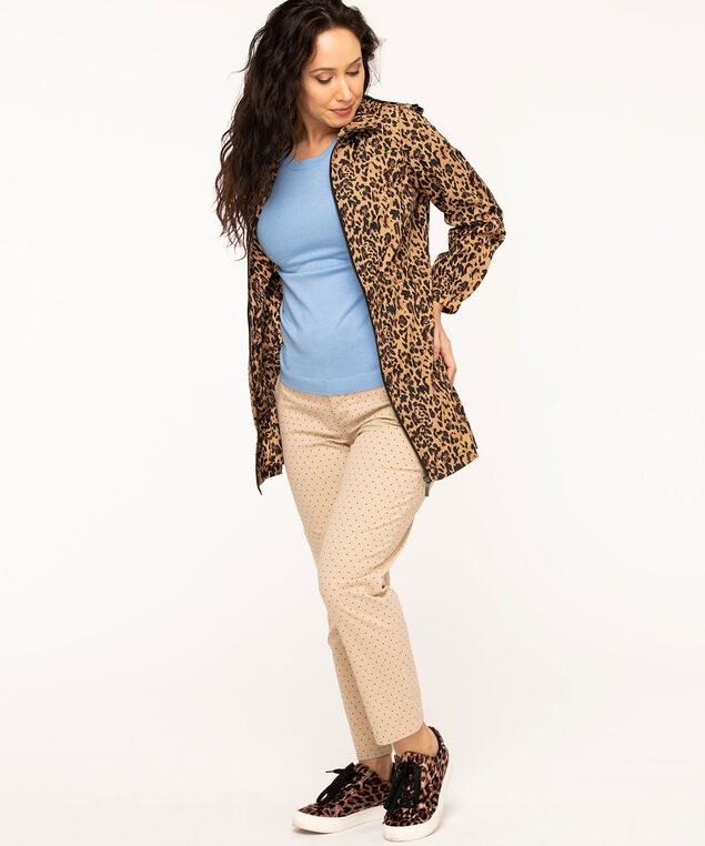 Animal Print Spring Anorak, Camel/Black