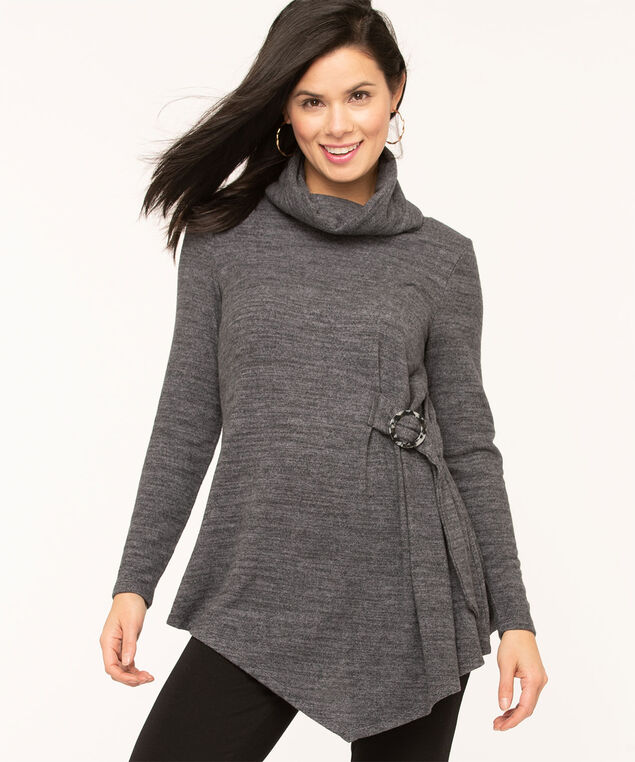 Charcoal Cowl Neck Hacchi Tunic, Charcoal Mix, hi-res