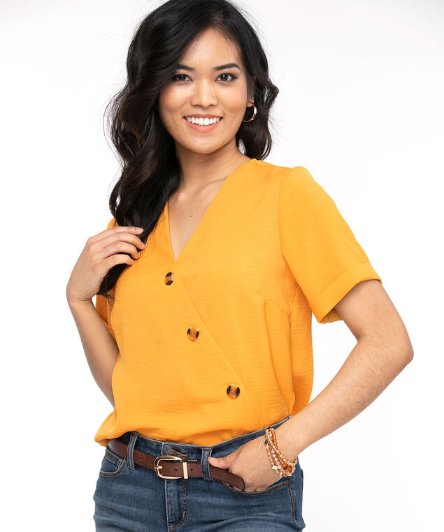 Gold Diagonal Button Front Blouse, Gold