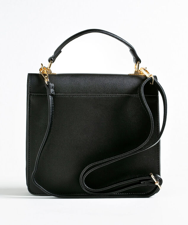 Chainlink Handle Small Handbag, Black, hi-res