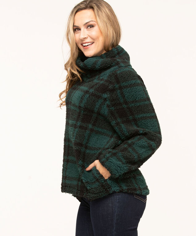 Plaid Sherpa Fleece Pullover, Forest Green/Black