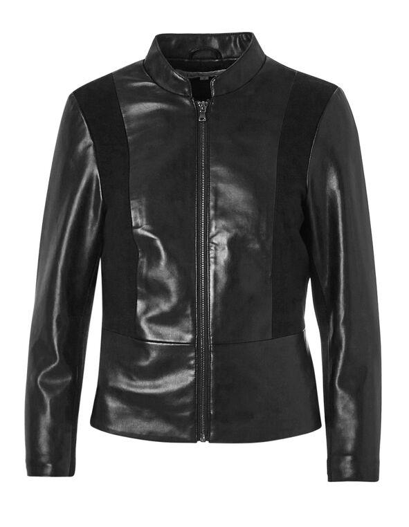 Black Peplum Faux Leather Jacket, Black, hi-res