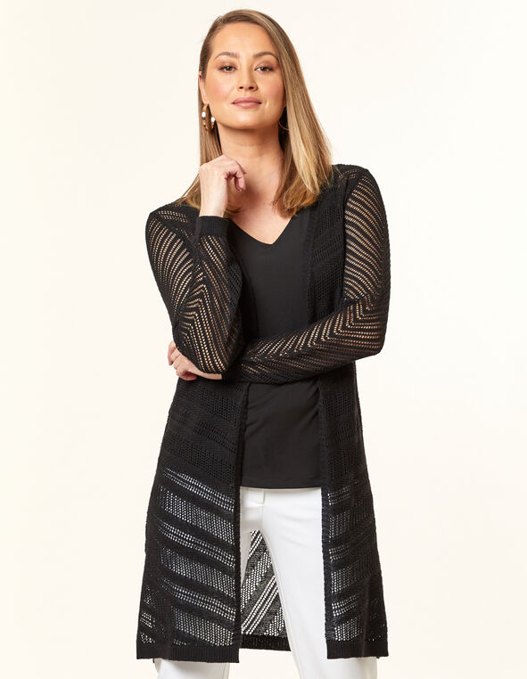 Black Pointelle Long Cardigan, Black, hi-res