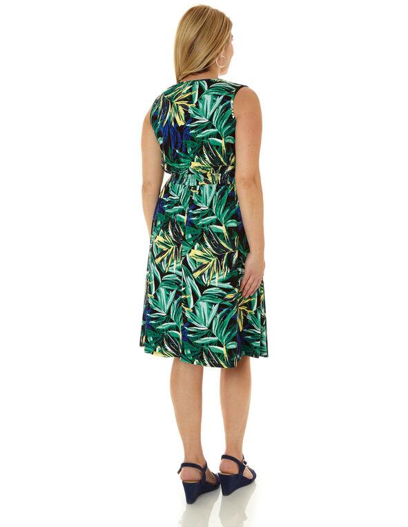 Tropical Print Fit & Flare Dress, Green, hi-res