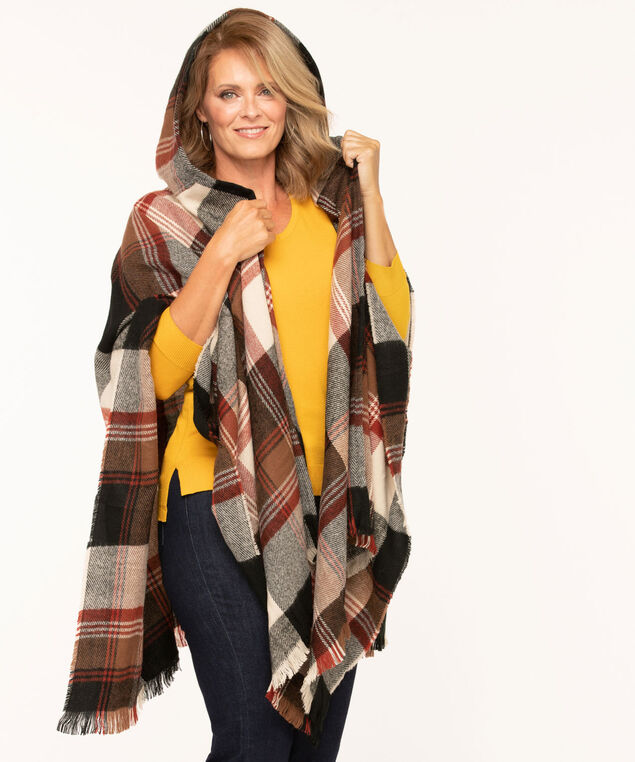 Plaid Hooded Open Poncho, Rust/Brown/Tan
