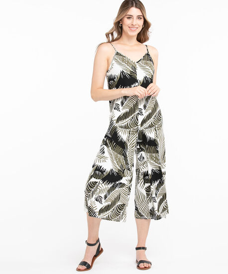 Tropical Sleeveless Jumpsuit, Ivory/Green/Black, hi-res