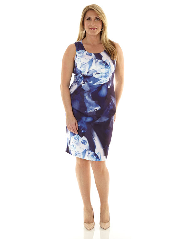 Cobalt Printed Sheath Dress, Cobalt, hi-res