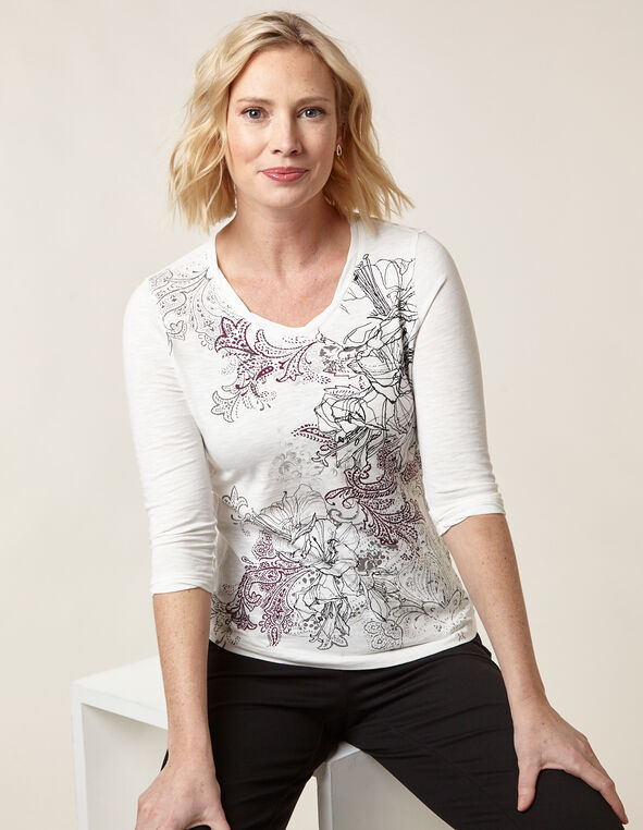 Ivory Floral Twisted Neckline Tee, Ivory, hi-res