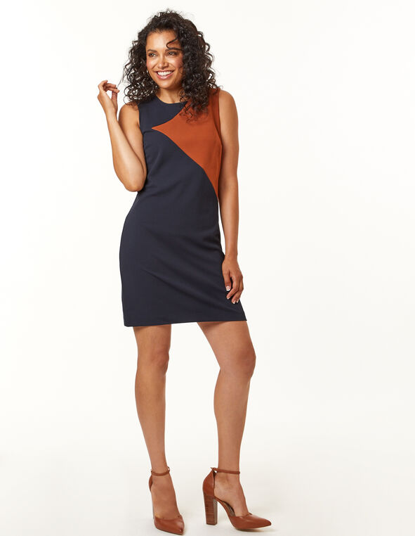 Copper Navy Colour Block Dress, Navy, hi-res
