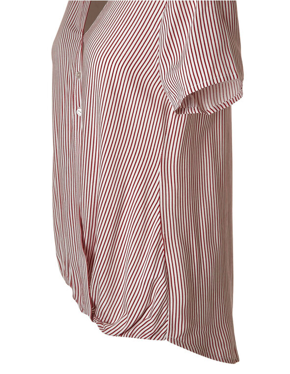 Red Striped Hi-Low Blouse, Red/White, hi-res