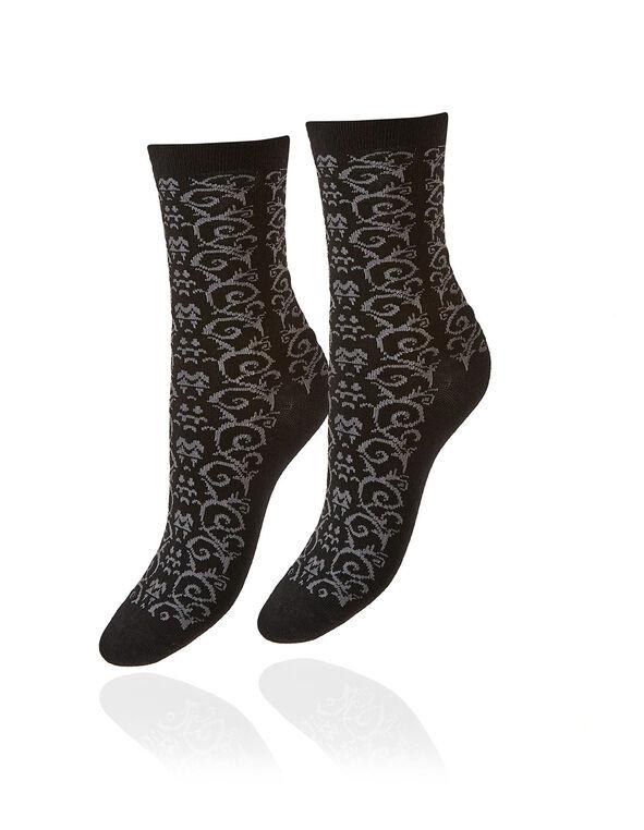 Black Patterned Crew Sock, Black, hi-res