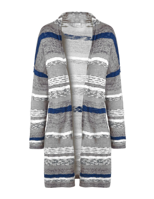 Blue Striped Long Cardigan, Blue/Grey, hi-res