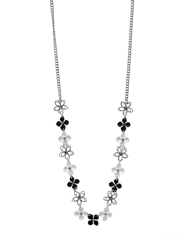 Black & White Floral Long Necklace, Black/White, hi-res