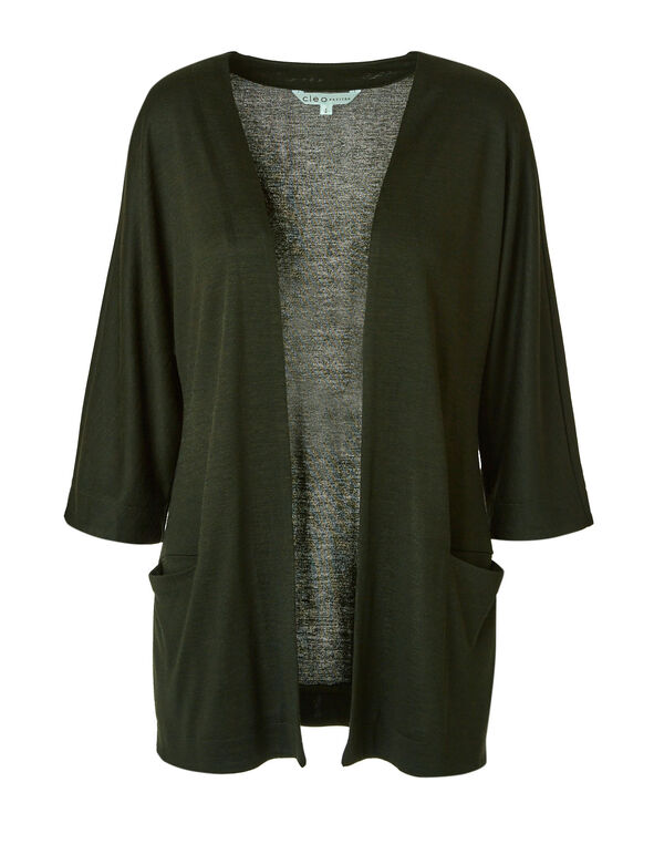 Dark Green Knit Hacchi Cardigan, Green, hi-res