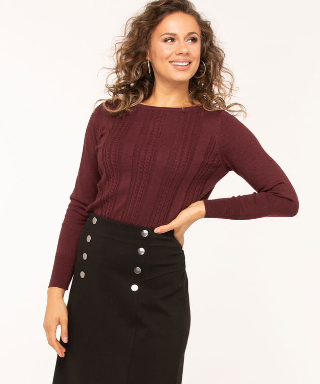 Cable Stitch Pullover Sweater, Mulberry, hi-res