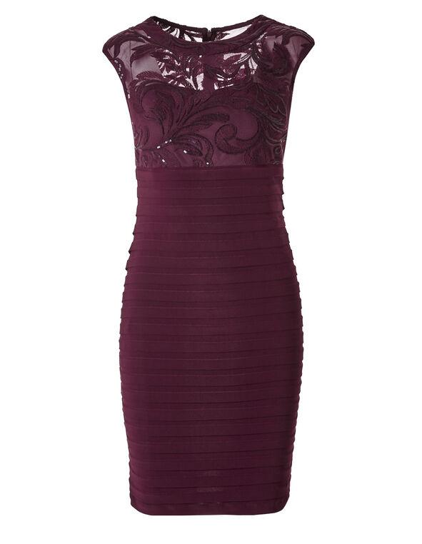 Burgundy Lace Shutter Dress, Burgundy, hi-res