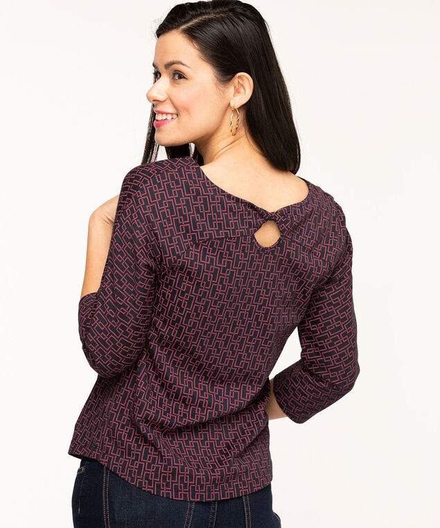 Twisted Keyhole Back Raglan Tee, Navy/Wine Geo