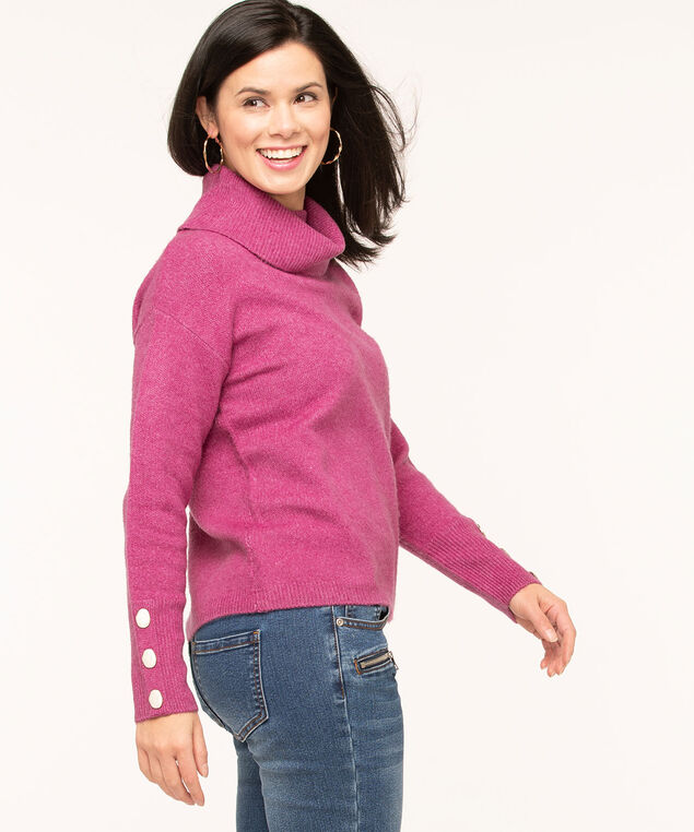 Button Cuff Turtleneck Sweater, Mid Pink, hi-res