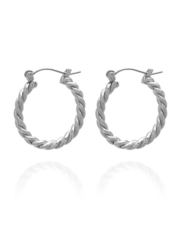Silver Twisted Hoop Earring, Silver, hi-res