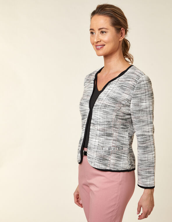 Carnation Plaid Tweed Blazer, White/Carnation, hi-res
