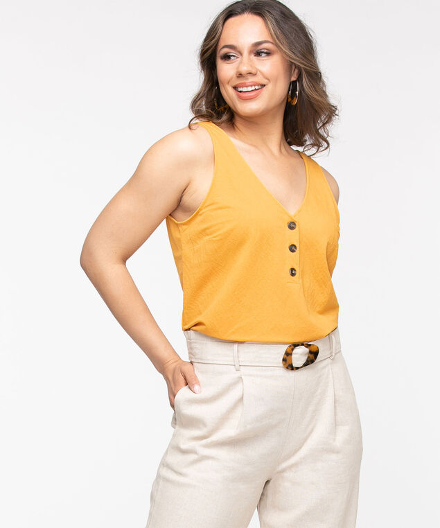 Sleeveless V-Neck Button Front Top, Gold