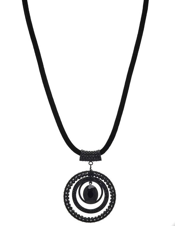 Short Circle Glitter Pendant Necklace, Black, hi-res