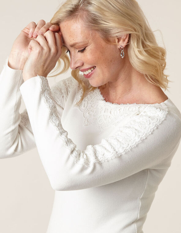 Ivory Lace Detail Sweater, Ivory, hi-res
