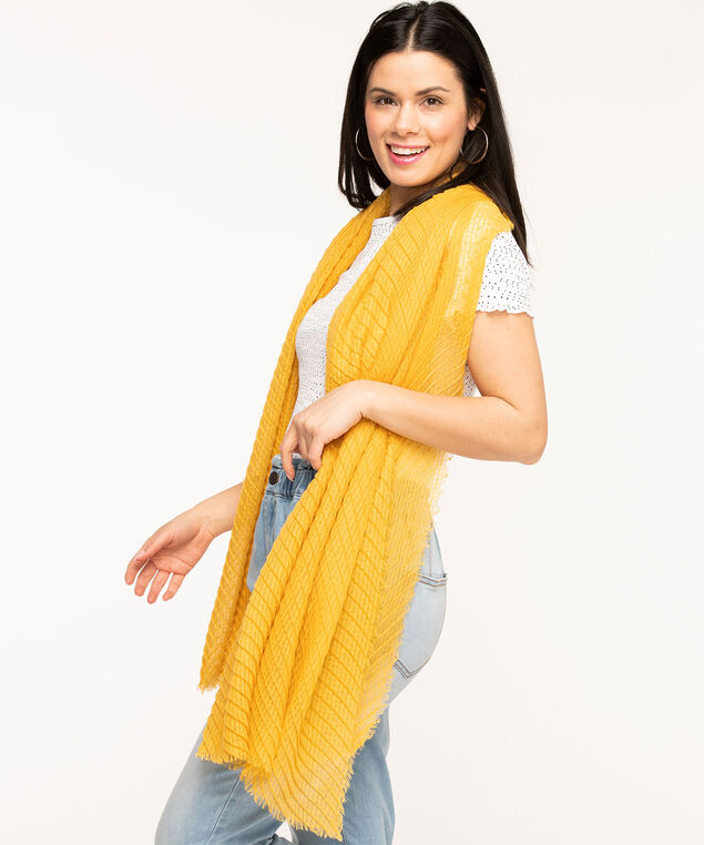 Gold Pleated Oblong Scarf, Gold