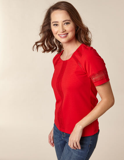 Poppy Crochet Crepe Top, Red/Poppy, hi-res
