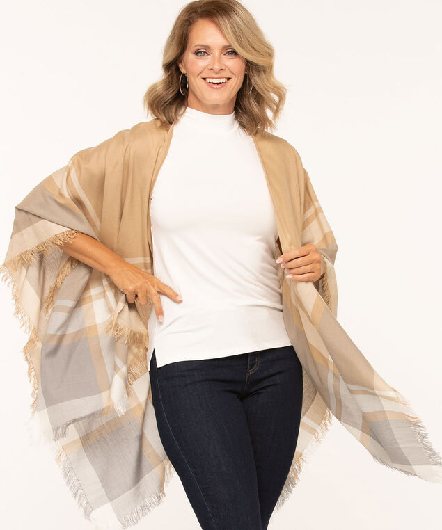 Tan Fringe Trim Wrap, Tan/Ivory/Grey, hi-res