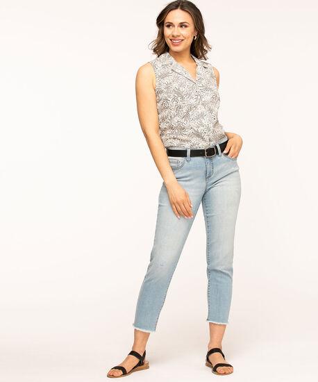 Button Front Sleeveless Blouse, White/Black Floral, hi-res