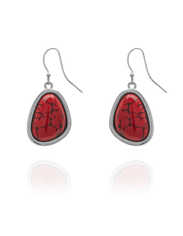 Red Stone Earring, Red, hi-res