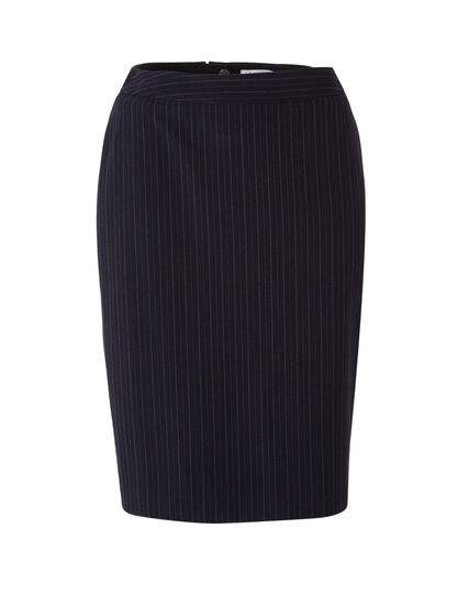 Navy Striped Soft Pencil Skirt, Navy, hi-res