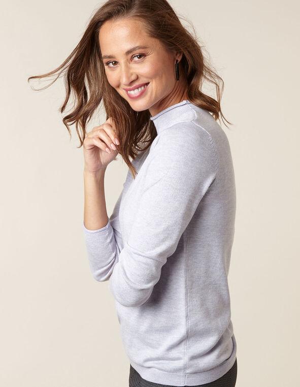 Mauve Recycled Mock Neck Sweater, Mauve, hi-res