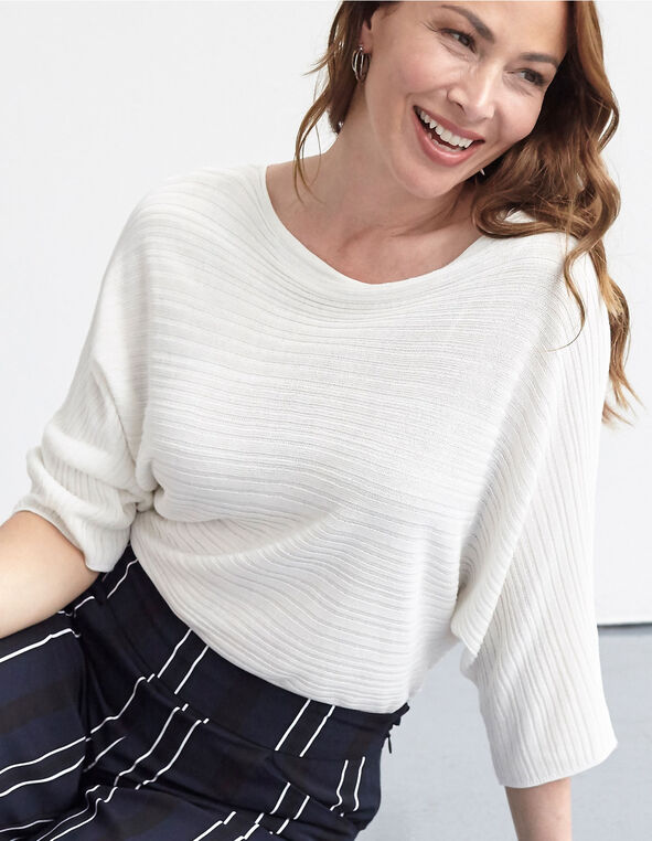 Ivory Ribbed Dolman Sleeve Sweater, Ivory, hi-res