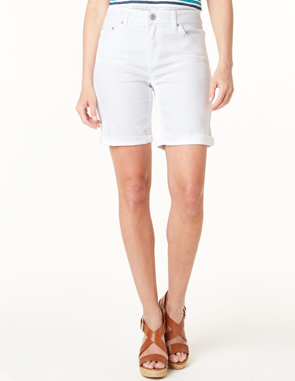 White Jean Short, White, hi-res