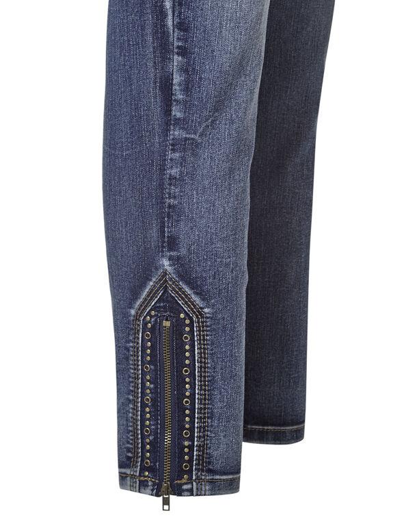 Mid Wash Zip Ankle Jean, Mid Wash, hi-res