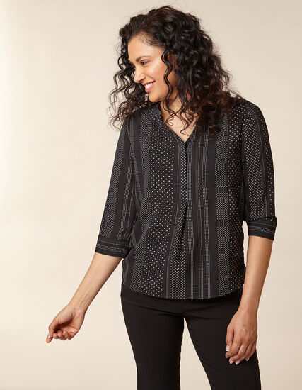 Black Dot Printed Blouse, Black, hi-res