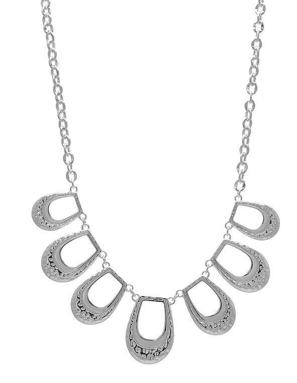 Silver Hammered Statement Necklace, Silver, hi-res