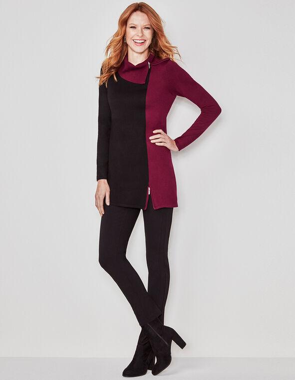 Sangria Colour Block Zip Tunic Sweater, Black/Sangria, hi-res