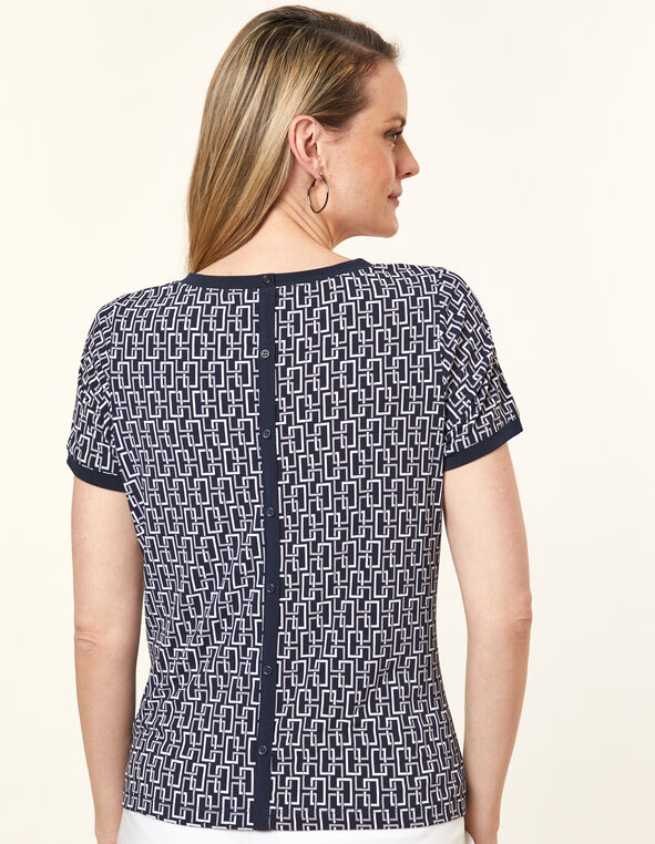 Navy Geo Print Top, Navy, hi-res