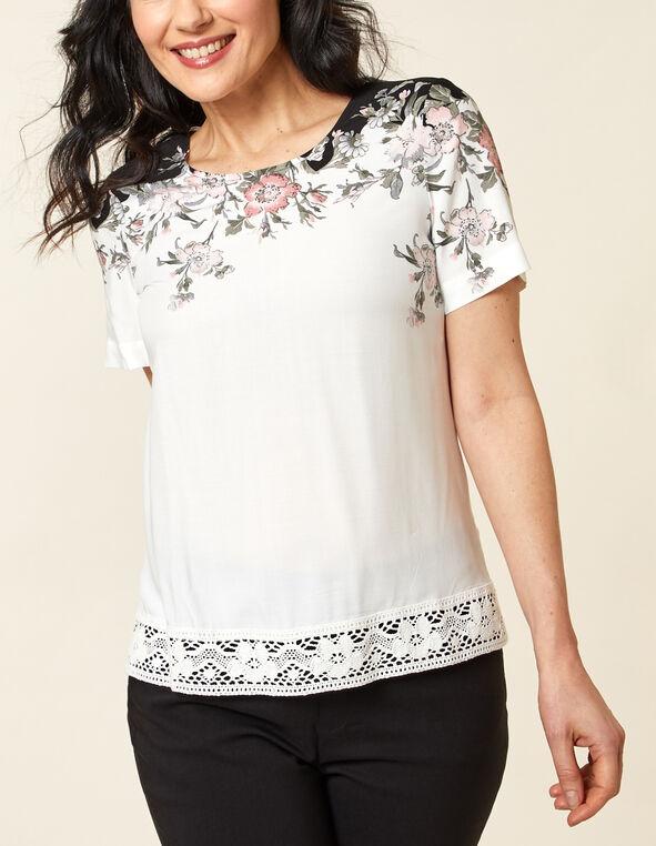 White Floral Lace Hem Top, White, hi-res