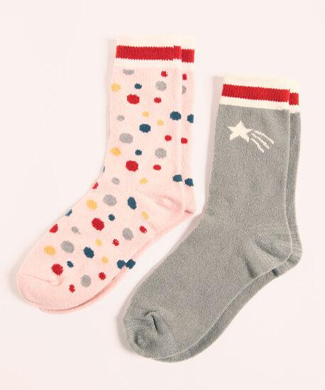Super Soft Dot Sock 2-Pack, Grey/Pink, hi-res