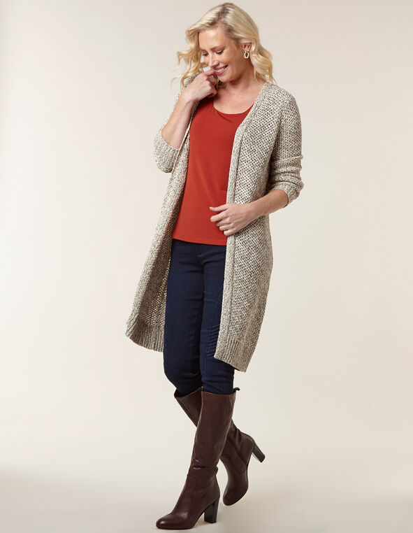Tan Long Open Cardigan, Beige, hi-res