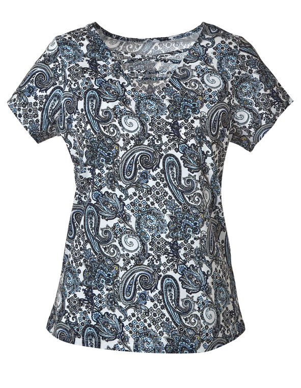 Blue Paisley Criss-Cross Tee, Blue, hi-res