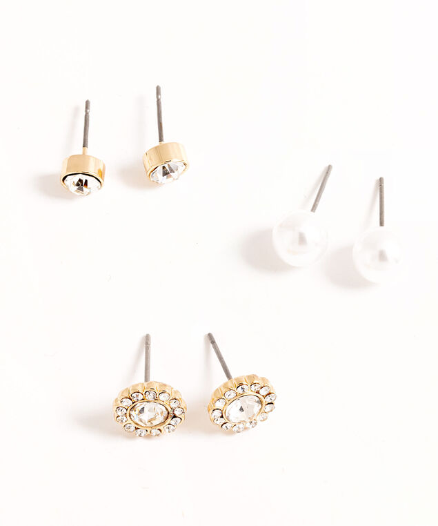 Gold Crystal Trio Earring Set, Gold/Pearl, hi-res