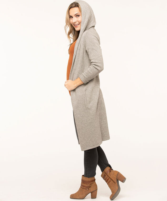 Grey Hooded Duster Cardigan, Grey, hi-res