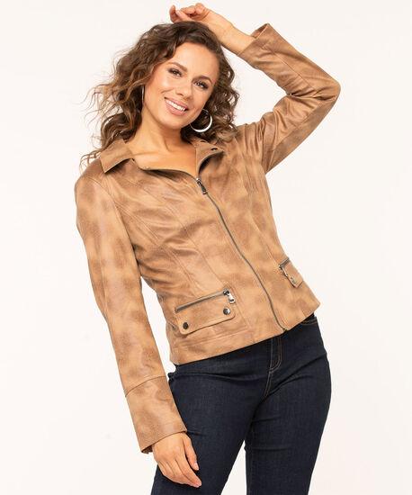 Faux Suede Textured Moto Jacket, Camel, hi-res